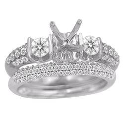 0.42 CTW Diamond Semi Mount Ring 14K White Gold - REF-45M5F