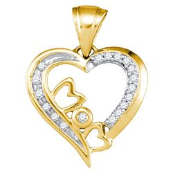 Diamond Mom Heart Pendant 1/10 Cttw 10kt Yellow Gold
