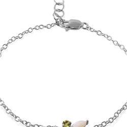 Genuine 0.60 ctw Opal & Peridot Bracelet 14KT White Gold - REF-42X9M