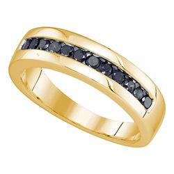 Mens Round Black Color Enhanced Diamond Wedding Band Ring 1/2 Cttw 10kt Yellow Gold
