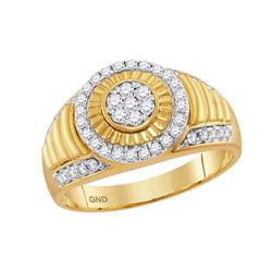 Mens Diamond Cluster Concentric Circle Ribbed Ring 3/4 Cttw 10kt Yellow Gold