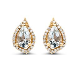 0.83 ctw Aquamarine & White Diamond Earrings 14K Yellow Gold - REF-35Y2N