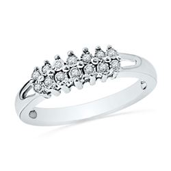 Diamond Double Row Fashion Band Ring 1/20 Cttw 10kt White Gold