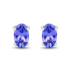 0.50 ctw Tanzanite Earrings 14K White Gold - REF-11X6Y