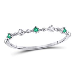 Round Emerald Slender Stackable Band Ring 1/12 Cttw 10kt White Gold