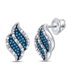 Round Blue Color Enhanced Diamond Cascading Stud Earrings 1/6 Cttw 10kt White Gold