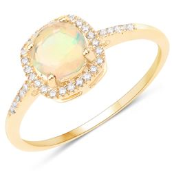 0.60 ctw Ethiopian Opal & Diamond Ring 14K Yellow Gold - REF-33T2X