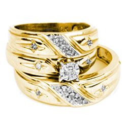 His & Hers Diamond Solitaire Cross Matching Bridal Wedding Ring Band Set 1/5 Cttw 14kt Yellow Gold