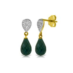 Genuine 6.63 ctw Green Sapphire Corundum & Diamond Earrings 14KT Yellow Gold - REF-28X3M