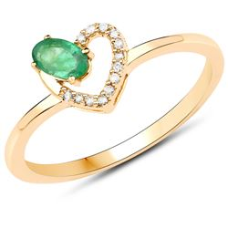 0.23 ctw Zambian Emerald & Diamond Ring 14K Yellow Gold - REF-23M2F