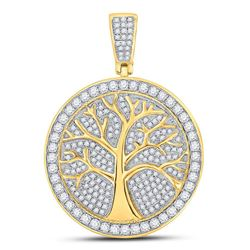 Mens Diamond Tree of Life Medallion Charm Pendant 1-1/4 Cttw 10kt Yellow Gold