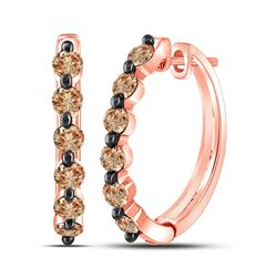Round Brown Diamond Hoop Earrings 1.00 Cttw 14kt Rose Gold