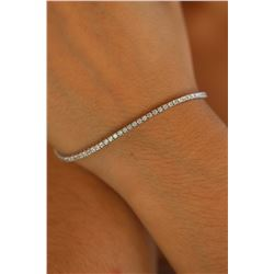 Natural 2.02 ctw Diamond Eternity Tennis Bracelet 18K White Gold - REF-150A3X