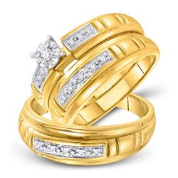 His & Hers Diamond Solitaire Matching Bridal Wedding Ring Band Set 1/6 Cttw 10kt Yellow Gold