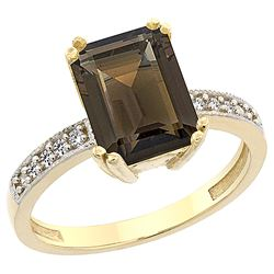 3.70 CTW Quartz & Diamond Ring 14K Yellow Gold - REF-40F2N