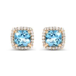 1.58 ctw Swiss Blue Topaz & Diamond Earrings 14K Yellow Gold - REF-37X2Y