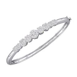Diamond Bangle Bracelet 2.00 Cttw 14kt White Gold