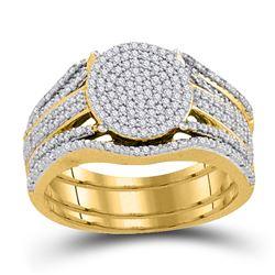 Diamond Cluster Bridal Wedding Engagement Ring Band Set 3/8 Cttw 10k Yellow Gold