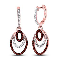 Round Red Color Enhanced Diamond Oval Dangle Earrings 1/3 Cttw 10kt Rose Gold