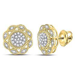 Diamond Milgrain Cable Cluster Earrings 1/6 Cttw 10kt Yellow Gold