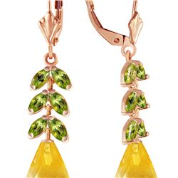 Genuine 11.20 ctw Citrine & Peridot Earrings 14KT Rose Gold - REF-56Y2F