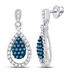 Round Blue Color Enhanced Diamond Teardrop Dangle Earrings 5/8 Cttw 10kt White Gold
