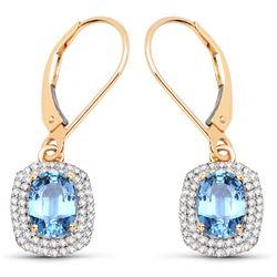 2.36 ctw Sapphire Blue & Diamond Earrings 14K Yellow Gold - REF-73A8M