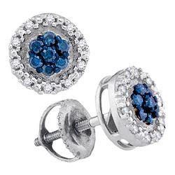 Round Blue Color Enhanced Diamond Circle Frame Cluster Earrings 1/4 Cttw 10kt White Gold