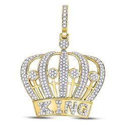 Mens Diamond King Crown Charm Pendant 1.00 Cttw 10kt Yellow Gold