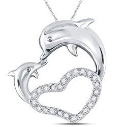 Diamond Double Dolphin Heart Pendant 1/6 Cttw 14kt White Gold