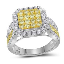 Round Canary Yellow Diamond Square Cluster Ring 1-3/4 Cttw 14kt White Gold