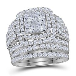 Diamond Bridal Wedding Engagement Ring Band Set 3-3/4 Cttw 14kt White Gold