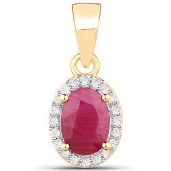 1 ctw Ruby & White Diamond Pendant 14K Yellow Gold - REF-26W6M