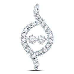 Diamond Moving Twinkle 2-stone Pendant 1/2 Cttw 14kt White Gold