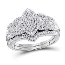 Diamond Marquise-shape Bridal Wedding Engagement Ring Band Set 3/8 Cttw 10kt White Gold