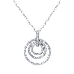 0.05 CTW Diamond Necklace 14K White Gold - REF-27W2H