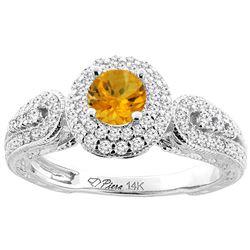 0.92 CTW Citrine & Diamond Ring 14K White Gold - REF-88R7H
