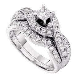 Diamond Twist Bridal Wedding Engagement Ring Band Set 3/4 Cttw 14kt White Gold