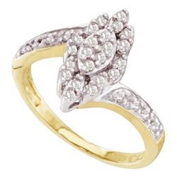 Diamond Marquise-shape Cluster Ring 1/4 Cttw 10kt Yellow Gold