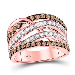 Round Brown Diamond Crossover Fashion Ring 1-1/3 Cttw 14kt Rose Gold