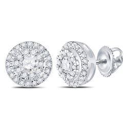 Diamond Circle Cluster Stud Earrings 1/2 Cttw 10kt White Gold
