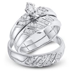 His & Hers Marquise Diamond Solitaire Matching Bridal Wedding Ring Band Set 1/4 Cttw 10kt White Gold