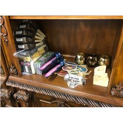 SHELF LOT OF INCENSE, INCENSE HOLDERS, DREAM CATCHERS, CANDLE HOLDERS ETC.
