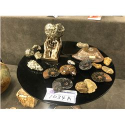 LOT OF IRON PYRITE AND ASSORTED FOSSIL ROCKS