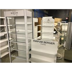 LOT OF 4 WHITE RETAIL DISPLAY SHELVING UNITS