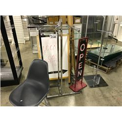 LOT OF 3 CHROME RETAIL DISPLAY UNITS AND RETAIL SIGNAGE