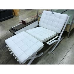 WHITE LEATHER LOUNGE CHAIR AND OTTOMAN