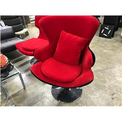 RED AND BLACK SWIVEL WING BACK LOUNGE CHAIR