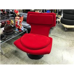 RED AND BLACK SWIVEL WING BACK LOUNGE CHAIR, S2