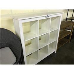 WHITE 9 COMPARTMENT 4' BOOK CASE